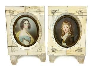 Pair Continental Miniature Portraits of Girls, c1900