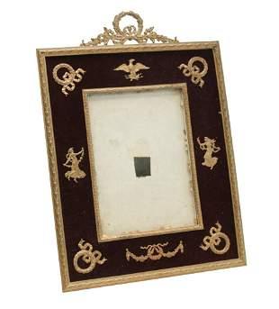 French 2nd Empire Gilt Bronze Velvet Photo Frame