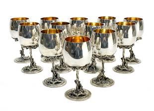 12 Italian 800 Silver Wine Goblets