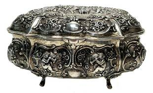 German Sterling Silver Gilt Repousse Footed Table Box