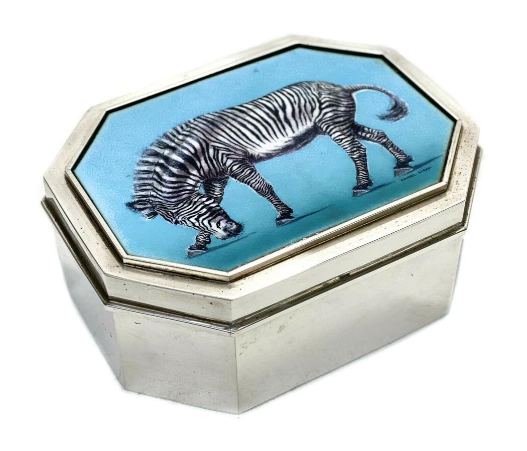 Sterling Silver Zebra Enamel Box by Daniel Sigal