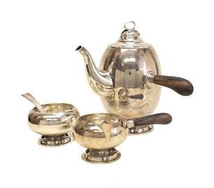 Allan Adler Sterling Silver Modernist Coffee Set