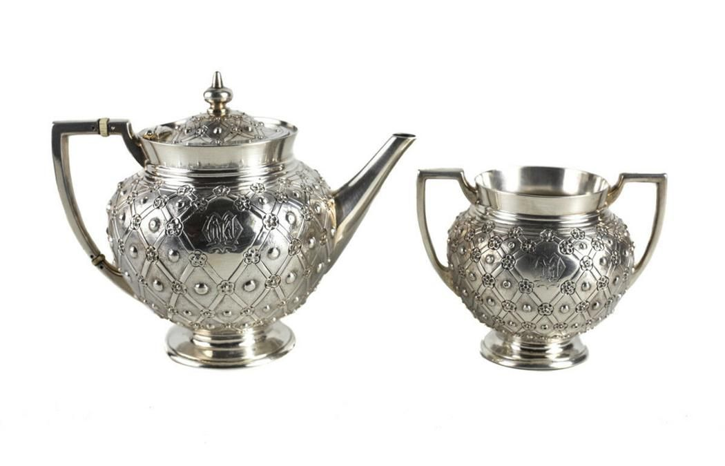 Frederick Elkington Sterling Silver Teapot & Sugar Bowl