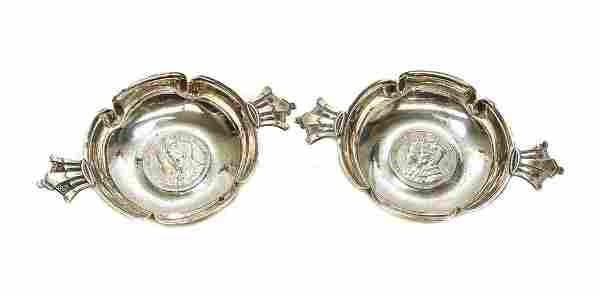 Pair Robert Edgar Stone Sterling Silver Coin Tastevin