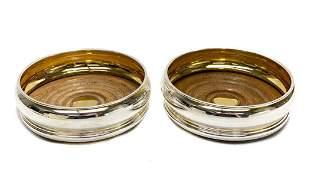 Pair Bvlgari Gilt Sterling Silver Bottle Wine Coasters
