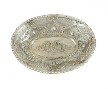 Continental 800 Silver Repousse Pierced Bowl, c1900