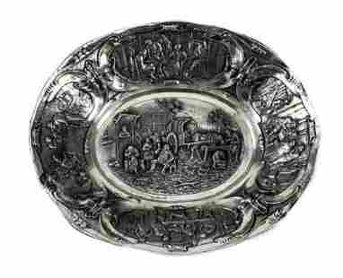 Herbert Hooijkaas Dutch Silver Bowl Tavern Scene, c1920