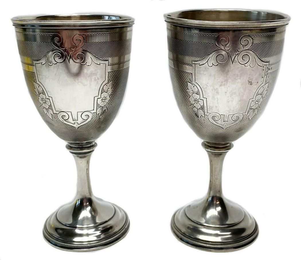 Pair American Coin Silver 900 Goblets c1860