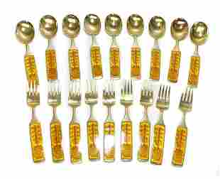 A. Michelsen & Gauguin Gilt Silver Enamel Fork & Spoons