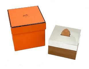 Hermes Silver Plate & Wood Box
