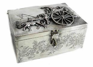 Dutch or German Silverplate Box Figural Scene, 19th C