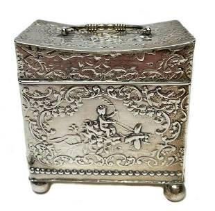 Samuel Boyce Landeck Sterling Silver Dutch Tea Caddy