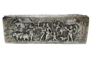 Dutch Silver Repousse Box. Import c1900