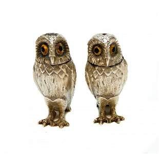 Tiffany & Co. Sterling Silver Owl Salt & Pepper Shakers
