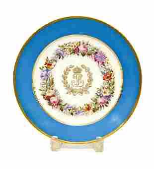 Manufacture De Sevres Porcelain Plate Chateau De Dreux