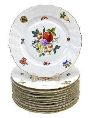 12 Herend Porcelain Dinner Plates