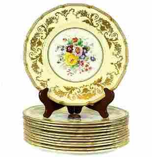 12 Royal Doulton Porcelain Dinner Plates, c1930