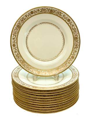 12 Minton England Porcelain Dinner Plates, circa 1900.