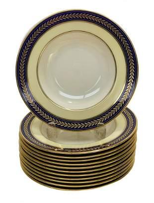 12 Lenox Porcelain Rimmed Soup Bowls, circa 1960