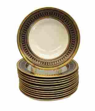 12 Cauldon for Tiffany & Co. Rimmed Soup Bowls