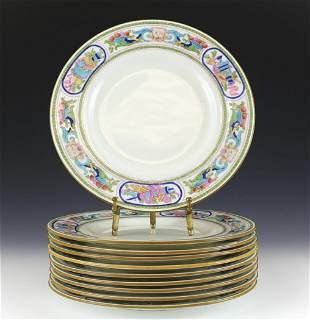 10 Minton China Luncheon Plates, Enamel Fruits