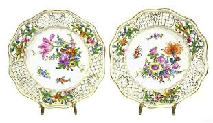 2 Dresden Carl Thieme Reticulated Hand Painted Plates