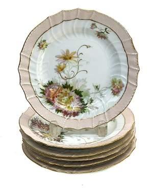 6 KPM Berlin Hand Painted Porcelain 8.25 inch Plates,
