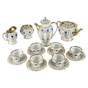 19th C. Porcelain Tea & Coffee Service for 6 by K.P.M