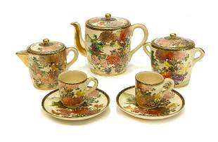 Japanese Satsuma Tea Service for 2, Early 20th Cent.