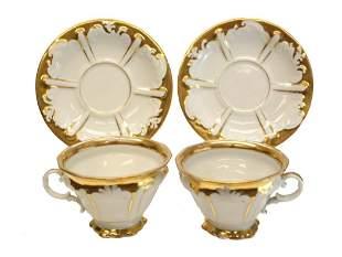 Berlin KPM Porcelain Gilt Cup & Saucers, circa 1850