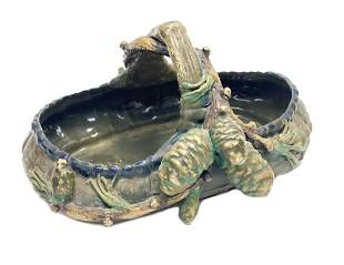 Amphora Turn Teplitz Pottery Basket Bowl, circa