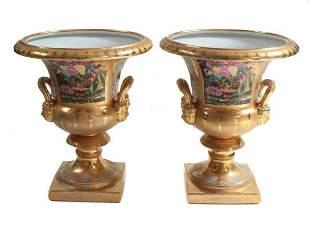Pair Paris Porcelain Hand Painted Miniature Bud Vases