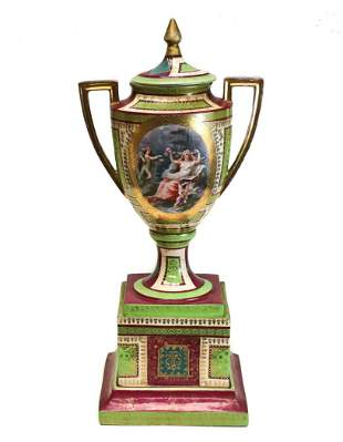 Large Royal Vienna Hand Painted Porcelain Footed Urn