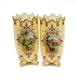 Pair Coalport Porcelain Miniature Footed Vases