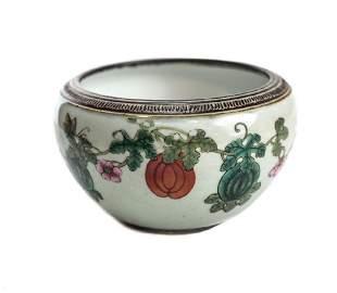 Antique Chinese Enamel Ceramic Bowl, 19th Century