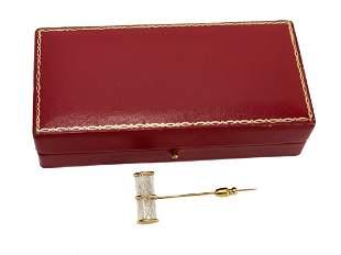 Steuben Air Twist 14k Gold Pin Brooch by Bernard X.