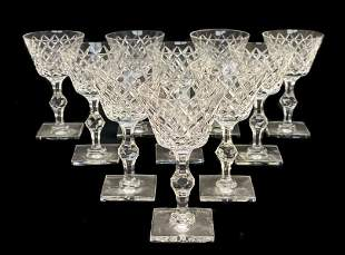 10 Hawkes Champagne Tall Sherbet Goblets Delft Diamond