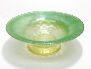 LCT Tiffany Green Favrile Footed Bowl.