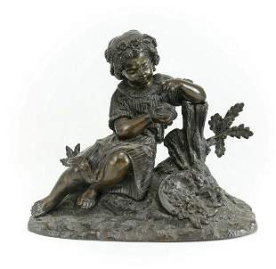 Bronze Figurative Sculpture Girl Bird Egg & Nest