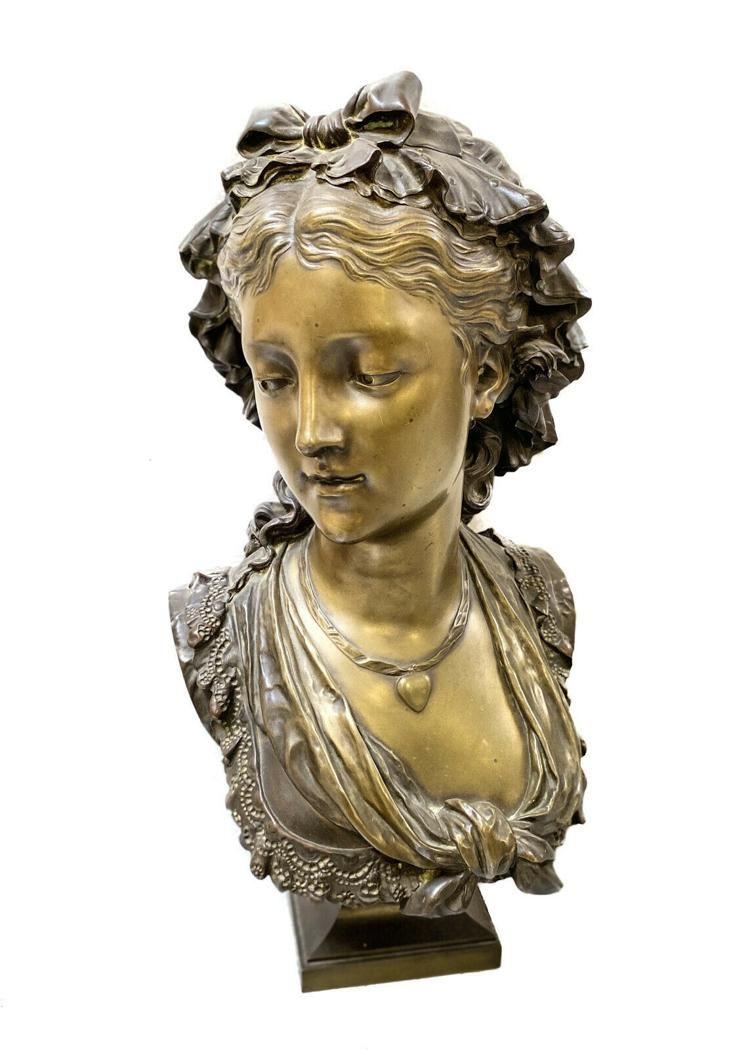 Eugene-Antoine Aizelin Bronze Bust For Tiffany