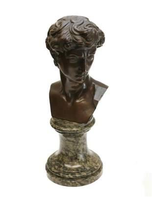 Italian Bronze David Bust Sculpture Spotted Stone Base