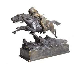 Carl Kauba Painted Bronze Indian on Horseback Sculpture