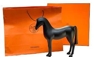 Hermes Ebonized Mahogany Wood Arion Horse Sculpture
