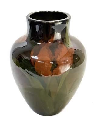 Rookwood Art Pottery Amber Brown Floral Vase by Sprague