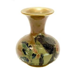 Amphora RSTK Enamel Pottery Vase Portrait of A Beauty