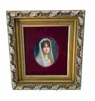 Portrait Plaque Hand Painted Porcelain signed Wagner