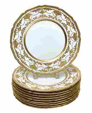 10 Royal Doulton Porcelain & Gold Dinner Plates