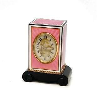 Gublein JTC Swiss Sterling Silver & Enamel Clock