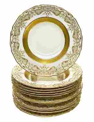 12 Royal Doulton Porcelain Rimmed Soup Bowls, c1910