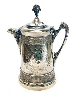 Continental Silver Plate Tankard Pitcher, 19th C